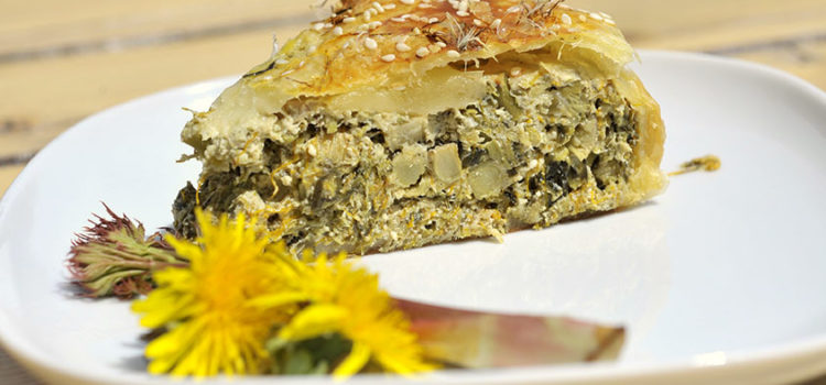 Torta salata ai fiori di tarassaco e asparagi di monte