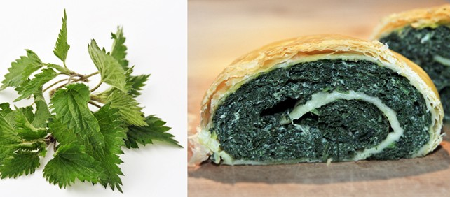 Nettle omelette in puff pastry
