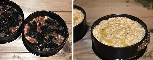 Put the two mixtures in the springform pan: on bottom the polpettone, on top the salsify filling